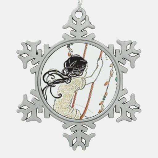 Diversión de la niñez del oscilación del vintage adorno de peltre en forma de copo de nieve