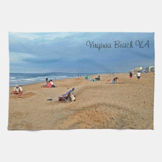 Diversión de la playa de la tarde toallas de cocina
