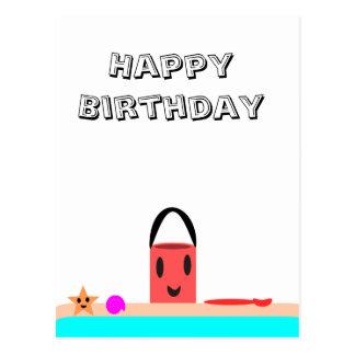 Diversión de la playa del feliz cumpleaños postal