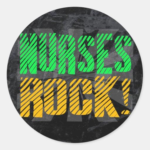Diversión de la roca de las enfermeras, anaranjada pegatinas
