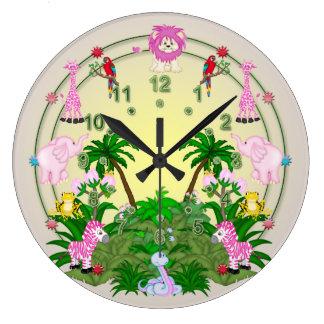 Diversión de la selva en amarillo reloj redondo grande