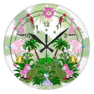 Diversión de la selva en las hojas del bosque reloj redondo grande