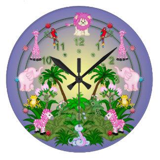Diversión de la selva en púrpura reloj redondo grande