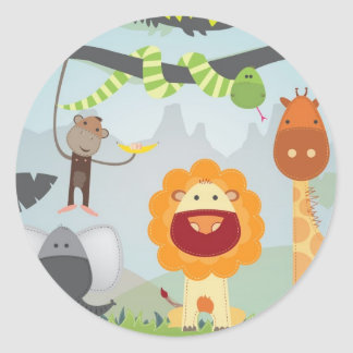 Diversión de la selva pegatina redonda