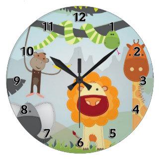 Diversión de la selva reloj redondo grande