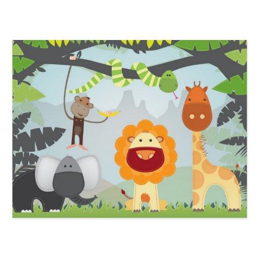 Diversión de la selva tarjeta postal