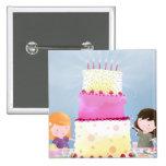 Diversión de la torta de cumpleaños - botón de la  pin