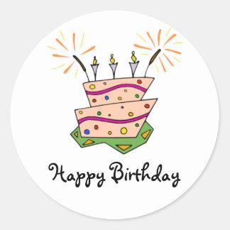 Diversión de la torta de cumpleaños pegatina redonda