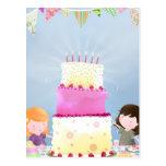 Diversión de la torta de cumpleaños - postal