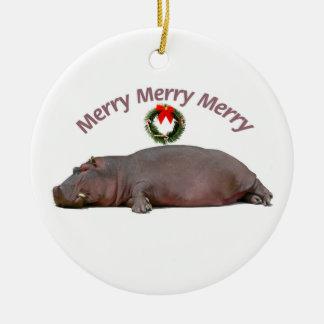 Diversión de las Felices Navidad del hipopótamo Ornamento Para Arbol De Navidad