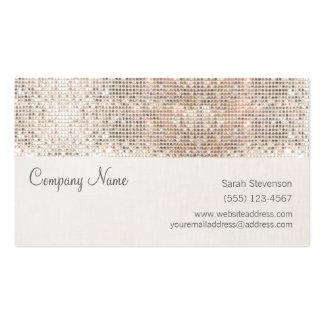 Diversión de lino de las falsas lentejuelas de plantilla de tarjeta personal