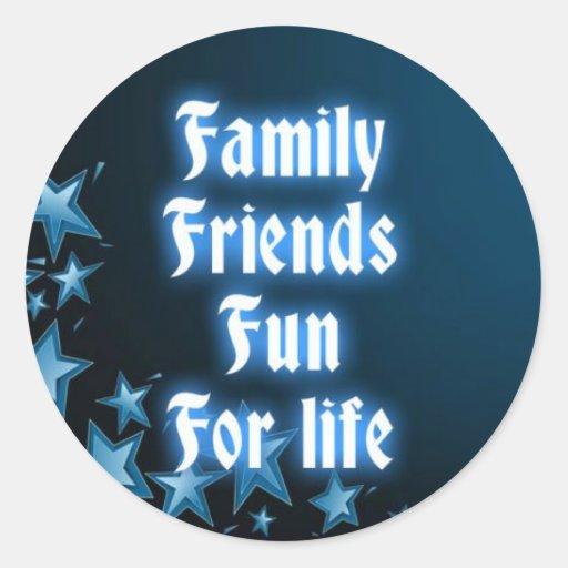 Diversión de los amigos de la familia para la vida pegatina redonda