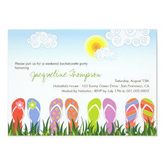 Diversión de los flips-flopes en el fiesta lindo invitaciones personalizada
