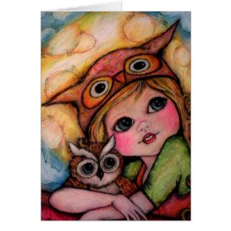 Diversión de Owlsome - ojos y rayos de luna grande Felicitaciones