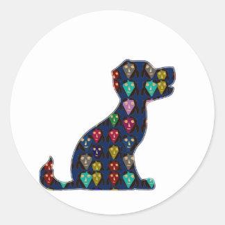 DIVERSIÓN del animal de mascota del perro del AMOR Pegatina Redonda