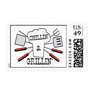 Diversión del Bbq de Chillin y de Grillin Estampillas