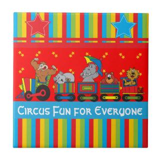 Diversión del circo para cada uno tema del cuarto azulejo cuadrado pequeño