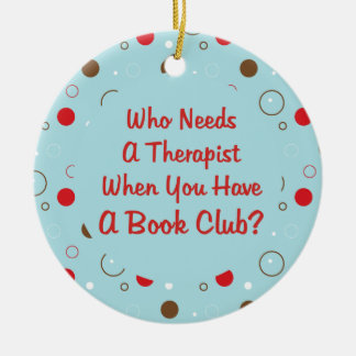 diversión del círculo de lectores adorno navideño redondo de cerámica