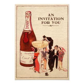 """Diversión del cóctel de Champán del vintage y Invitación 5"""" X 7"""""""