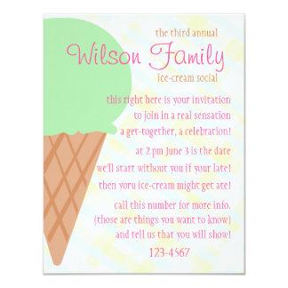 """Diversión del cono de helado invitación 4.25"""" x 5.5"""""""