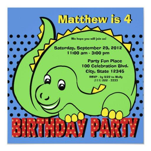 """Diversión del cumpleaños del dinosaurio invitación 5.25"""" x 5.25"""""""