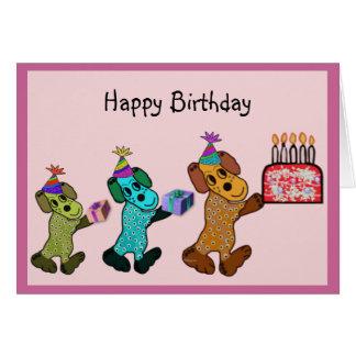 Diversión del cumpleaños del perrito tarjeta pequeña