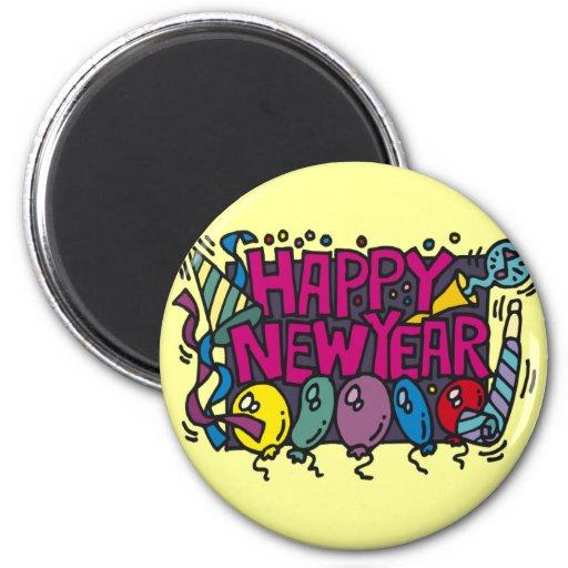 Diversión del fiesta de la Feliz Año Nuevo Imán Redondo 5 Cm