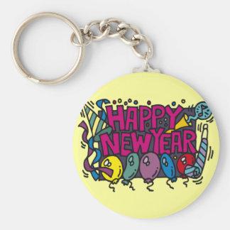 Diversión del fiesta de la Feliz Año Nuevo Llavero Redondo Tipo Pin