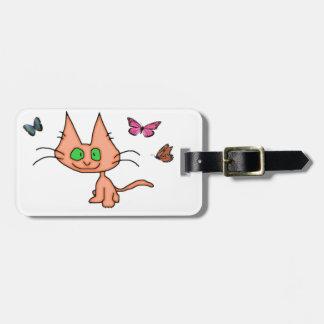 Diversión del gato con Butterflys Etiquetas Bolsa