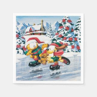 Diversión del invierno con Garfield, Odie y Pooky Servilleta De Papel