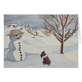 Diversión del invierno del escocés tarjeta de felicitación
