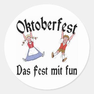 Diversión del Mit del Fest de Oktoberfest Das Pegatinas Redondas