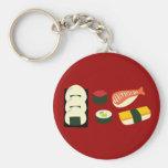 Diversión del sushi llavero redondo tipo pin