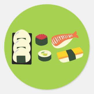 Diversión del sushi pegatinas redondas