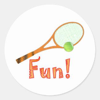 Diversión del tenis etiqueta