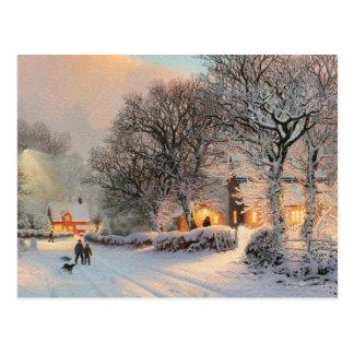Diversión del trineo del invierno del vintage en postal