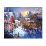 Diversión en ciudad del navidad tarjeta postal