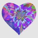 Diversión en el azul de Sun Pegatina En Forma De Corazón