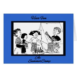 Diversión en el dibujo del campamento de verano tarjeta de felicitación