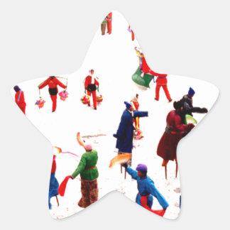 Diversión en el hielo, baile chino del zanco pegatina en forma de estrella
