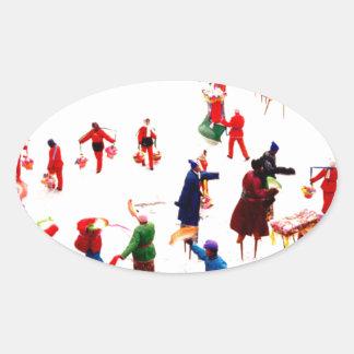Diversión en el hielo, baile chino del zanco pegatina ovalada