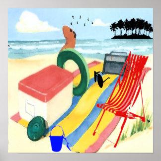 Diversión en el poster de la playa