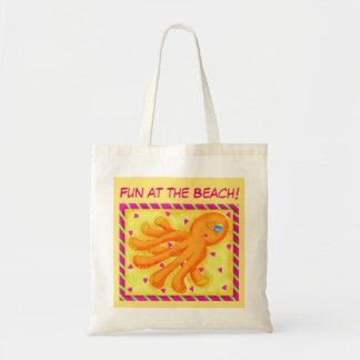 Diversión en el pulpo banal de la playa bolsa tela barata