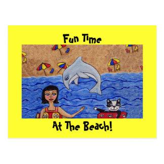 Diversión en la playa con mi postal del gato