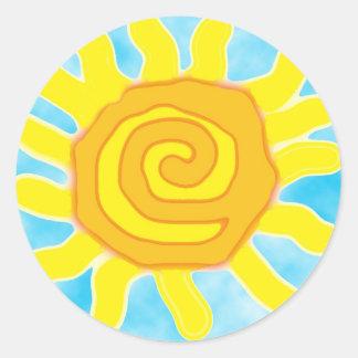 Diversión en los pegatinas de Sun Pegatina Redonda