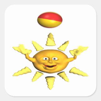 Diversión en The Sun Pegatina Cuadrada