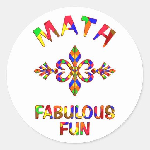 Diversión fabulosa de la matemáticas pegatinas redondas