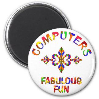 Diversión fabulosa de los ordenadores imán redondo 5 cm