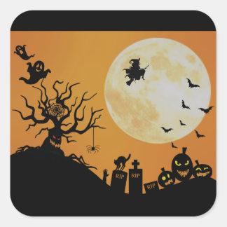 Diversión fantasmagórica de Halloween Pegatina Cuadrada