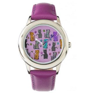 Diversión felina relojes de pulsera